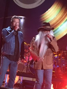 """Blake Shelton performed part of his new song """"Doing it to Country Songs"""" with the Oak Ridge Boys.  Bonus Song!  They also performed part of """"Elvira!""""  Did you see the camera shot of Carrie Underwood singing word to word to Elvira?"""