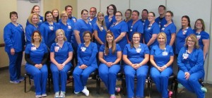 New nurse graduates entering Sarah Bush Lincoln's Nurse Residency Program are pictured left to right: first row – Casey Neville, Tara Biggs, Lisa Lawson, Emily Johnson, Hannah Jernigan, Tiffany McSparren, and Jessica Spence; second row – Cassie Riley, Megan Huddleston, Shelby Jackson, Kiersten Dent, Andrea Hutchinson, Lexi Walk, Kierston Oborne, Chris Roedl, Amber Waterman, Renea Phelps, Glenda Hunt, and Lexi Fiscus; third row – Cassie Will, Katy Augustyn, Todd Layton, Dwight Hardin, Haley Whitman, Marissa Klee, Jason Duhamell, and Andrew McDevitt. Not pictured are: Ali Barless, Jennifer Martinez, Amy Pippin, Hilary Bodle, Shelby Evinger, Nathan Raisner and Valentina Theole.