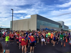 Over 300 participants and spectators gather at the Richard E. Workman Sports & Wellness Complex on September 10 at the start of HSHS St. Anthony's Memorial Hospital's 2016 Superhero Race.  This first-time event was a big success, netting over $16,000 to support the HSHS St. Anthony's Foundation to benefit diabetes education at St. Anthony's.