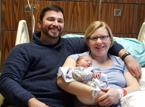 (Left to right) Kenny and Martha Stice of Teutopolis proudly introduce new daughter Luella Diane Stice, HSHS St. Anthony's Memorial Hospital's New Year's Baby of 2017.