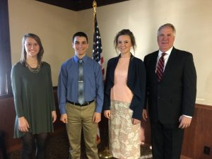 From Clinton County, pictured left to right above: Tori Voyles of Aviston (USAFA), Seth Terwilliger of New Baden (USAFA), Aften Richter of Highland (USAFA, USNA), and Shimkus.