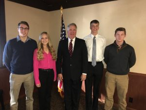From all other counties, pictured left to right above: Charles Goss of Sullivan (USAFA), Grace Zeller of Effingham (USMA), Shimkus, Gabriel Oetting of Charleston (USNA), and Christopher Henson of Flora (USNA).